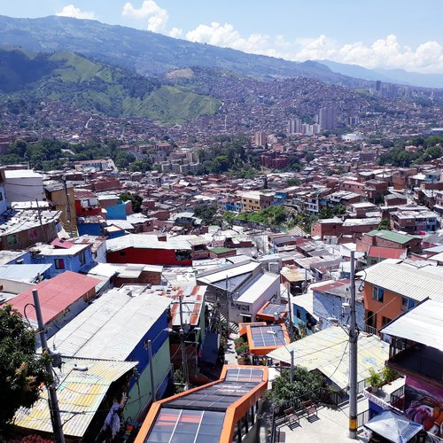 Picture taken in the low income but creative area of Comuna 13 in Medellin, where electric stairs have been installed to facilitate the mobility of the inhabitants as their living environment is extremely steep.