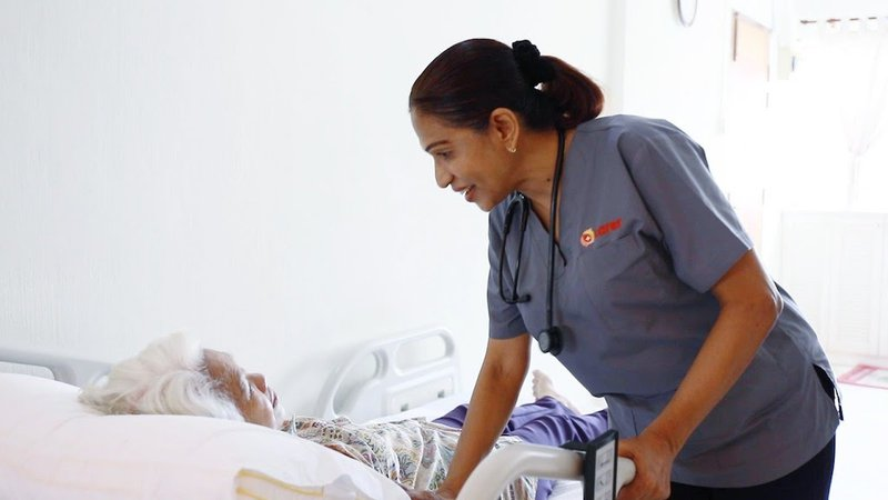 Carer's nurse providing homecare