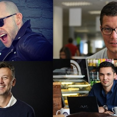 Featured image (from top left to bottom right): Springleap founder Eran Eyal, Silvertree Internet Holdings co-founder Manuel Koser, Bank Zero chairman Michael Jordaan and WhereIsMyTransport co-founder Devin de Vries (Image via Ventureburn)