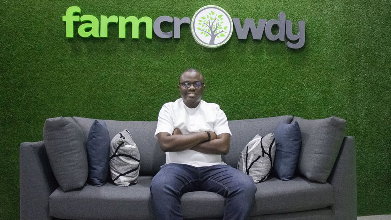 Farmcrowdy CEO Onyeka Akumah at the startup's Lagos office (Supplied)