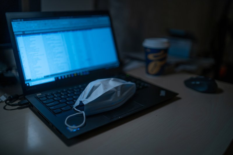 Mask on laptop