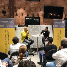 Andre Haddad (left) talking to Rony Chammas about early beginnings and product/market fit. (Image via LebNet)